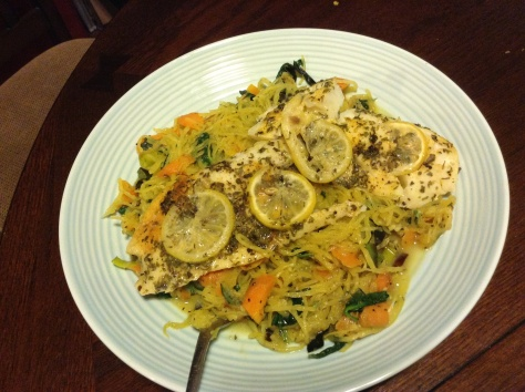 Decadent Seasonal Feast: Cod on Spaghetti(Squash) with Lemon Butter