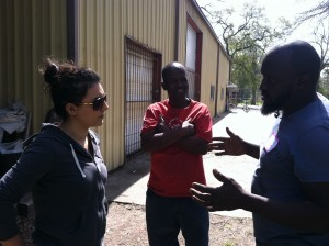 Local community activist, Regina, talking to Kelvin and Todd about big ideas and small steps